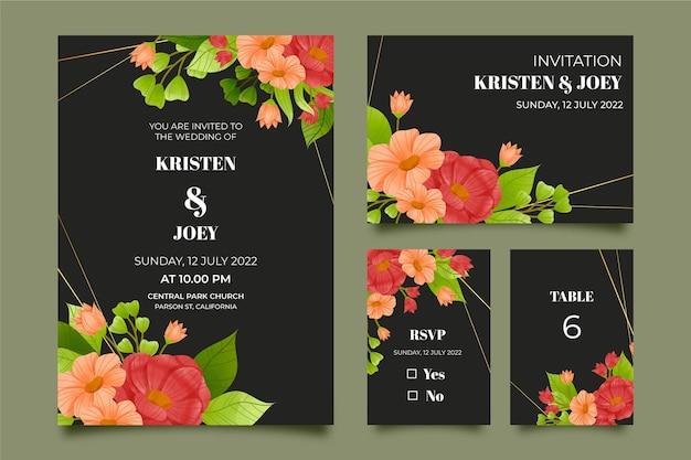 Papel de carta floral dramático em aquarela para casamento