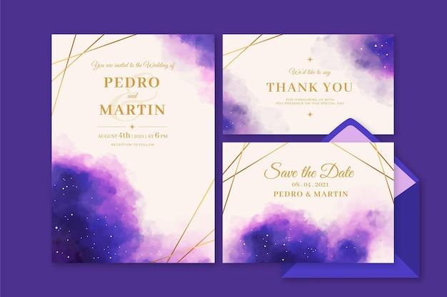 Papel de carta para casamento celestial em aquarela