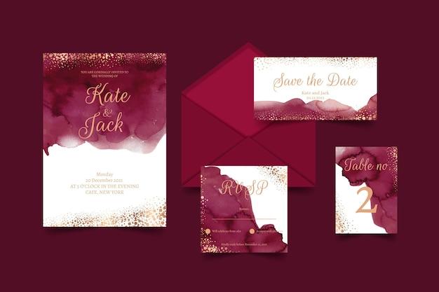 Papel de carta para casamento em aquarela