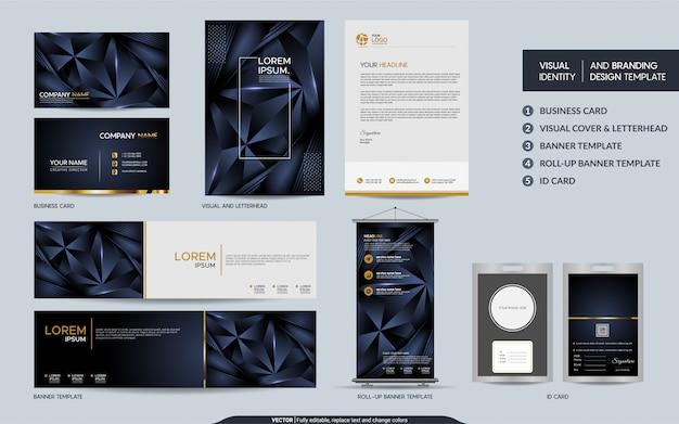 Papel de carta poligonal azul marinho moderno simulado conjunto e identidade visual da marca com camadas de sobreposição abstratas