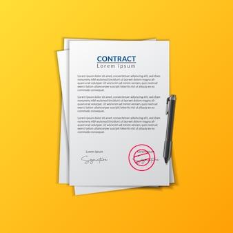 Papel de documento de contrato com assinatura e carimbo para aprovação da documentação do contrato comercial
