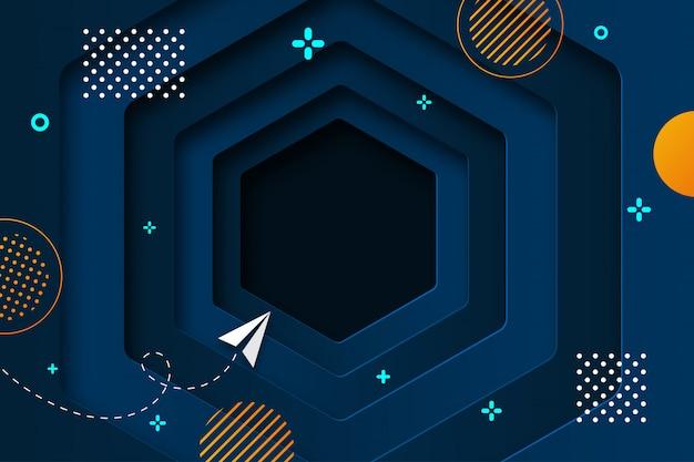 Papel de furo profundo hexágono azul cortado abstrato