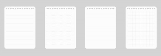 Papel de linha de bloco de notas a4
