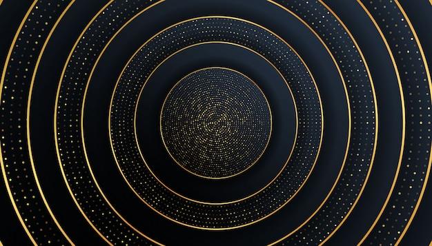 Papel de luxo cortado fundos com gradientes de linha e meio-tom dourados