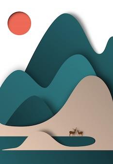 Papel de montanha colorida corta a ilustração vetorial de fundo estilo