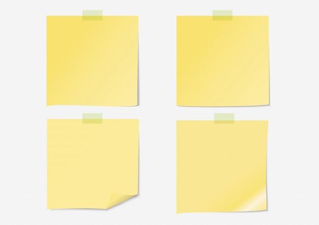 Papel de nota amarelo post conjunto com fita adesiva