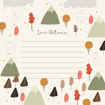 Papel de nota com fundo de árvore e montanha outono
