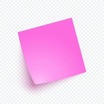 Papel de nota-de-rosa com sombra, nota de etiqueta para lembrar, lista, informação.