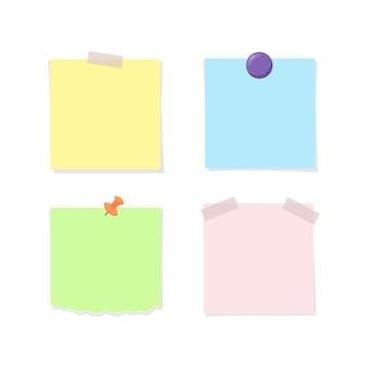 Papel de nota preso com fita adesiva, alfinete e ímã