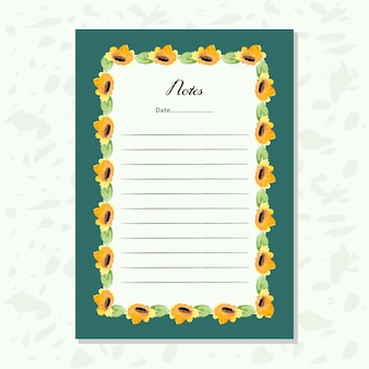 Papel de notas com moldura floral de aguarela amarela