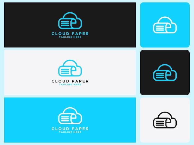 Papel de nuvem de logotipo para bibliotecas e livrarias educacionais online