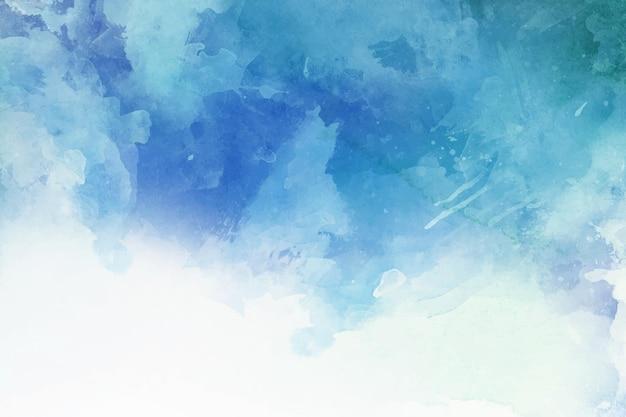 Papel de parede abstrato azul pintado à mão em aquarela