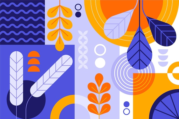 Papel de parede abstrato com formas e plantas