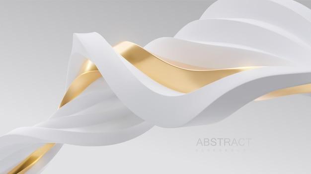 Papel de parede abstrato minimalista com formas onduladas de fitas brancas e douradas entrelaçadas Vetor Premium