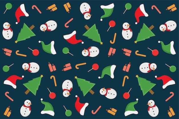 Papel de parede app linha estilo arte comercial esboço doodle conjunto padrão de pano de fundo christmast