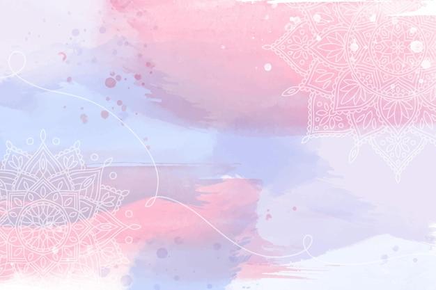 Papel de parede aquarela com elementos desenhados à mão