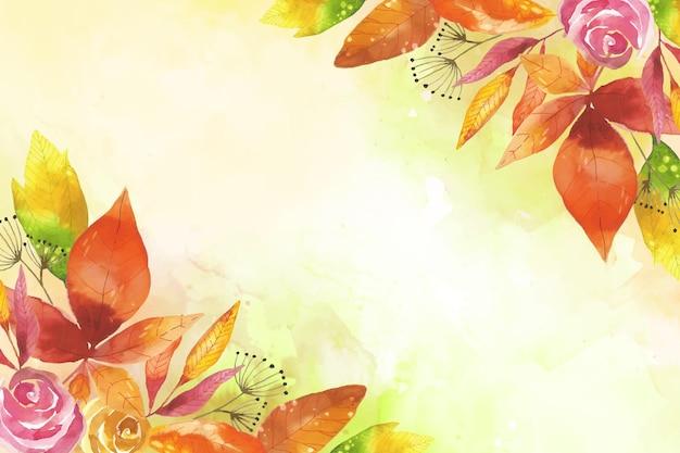 Papel de parede aquarela folhas de outono