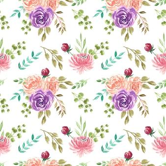 Papel de parede bonito padrão sem emenda de flores em aquarela