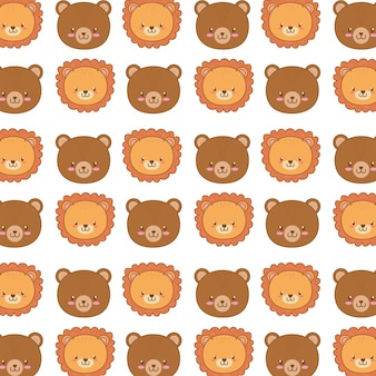 Papel de parede bonito padrão sem emenda de personagens de animais da floresta