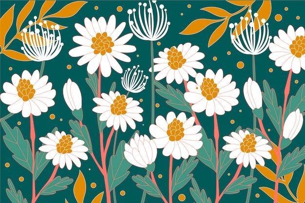 Papel de parede colorido com flores brancas e folhas