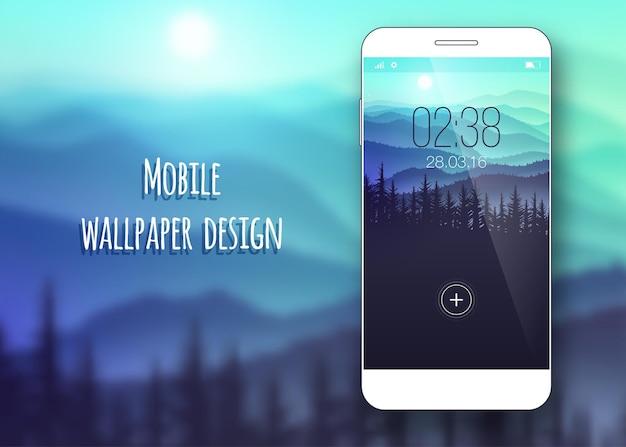 Papel de parede colorido da interface do celular no fundo desfocado