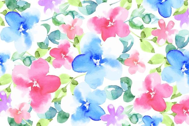 Papel de parede colorido de flores em aquarela
