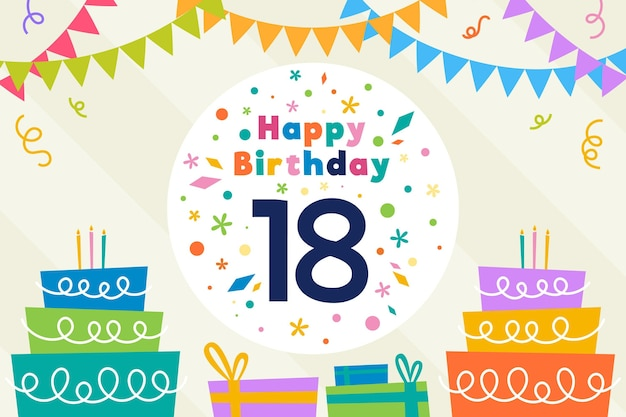 Papel de parede colorido do feliz aniversário de 18 anos