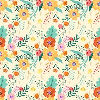 Papel de parede colorido mão desenhada flores sem costura padrão