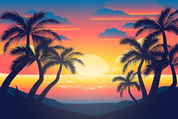 Papel de parede colorido silhuetas palm