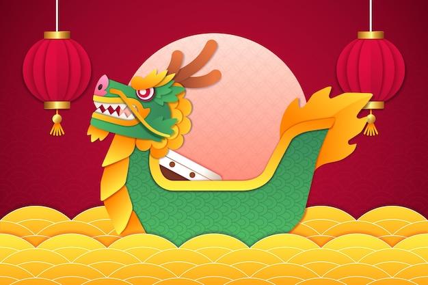 Papel de parede com barco dragão em estilo de jornal