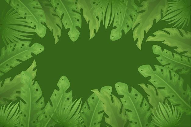 Papel de parede com conceito de folhas tropicais