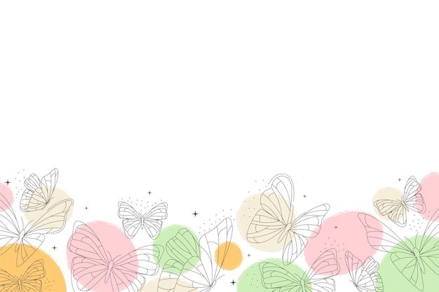 Papel de parede com contorno de borboleta plana linear