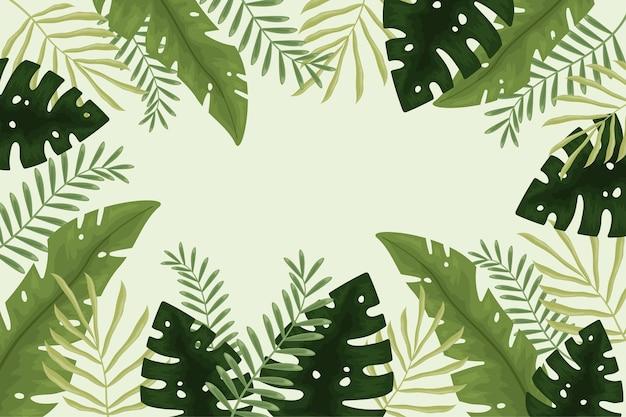 Papel de parede com design de folhas tropicais