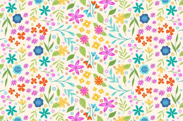 Papel de parede com estampa floral servida colorida