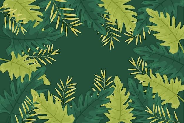 Papel de parede com folhas tropicais