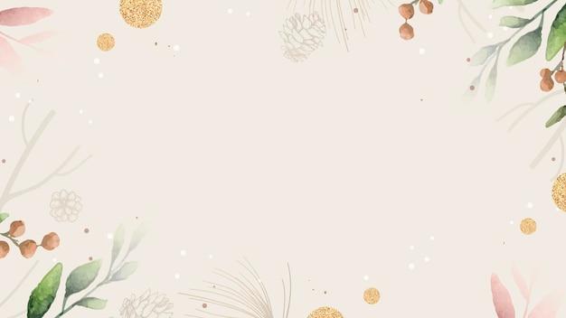 Papel de parede com moldura de folhas em branco