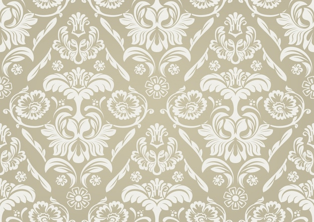 Papel de parede com padrão damasco branco