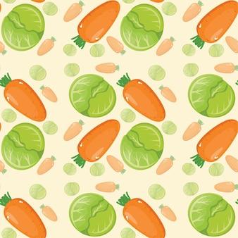 Papel de parede criativo com padrão de cenoura e repolho