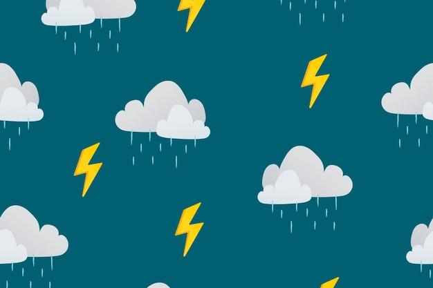 Papel de parede da área de trabalho, ilustração vetorial de nuvem chuvosa com padrão de clima fofo