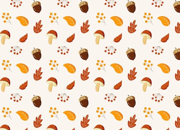 Papel de parede da temporada de outono com elementos de desenho animado