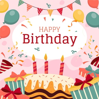 Papel de parede de aniversário com balões e bolo