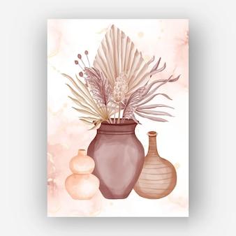 Papel de parede de aquarela estética do vaso de flores boho