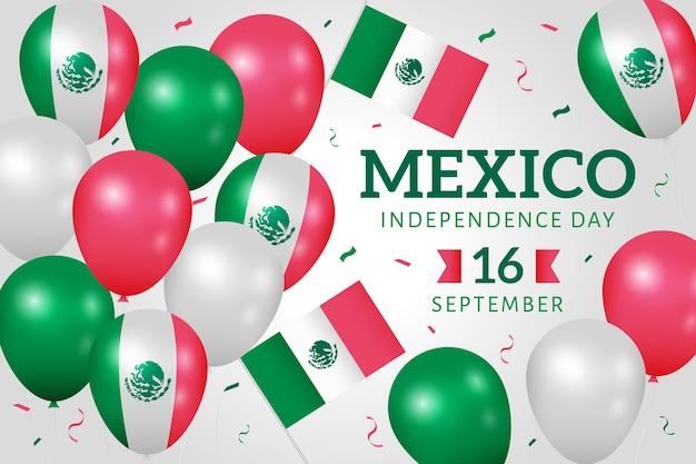 Papel de parede de balão de independência do méxico com confetes