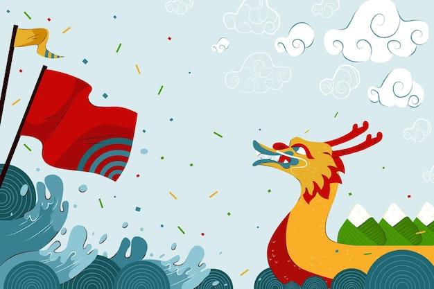 Papel de parede de barco dragão com bandeira