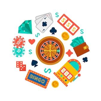 Papel de parede de cassino com elementos de pôquer