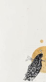 Papel de parede de celular em branco dourado com moldura de pavão cintilante