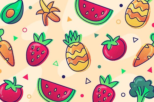 Papel de parede de contorno de frutas e legumes
