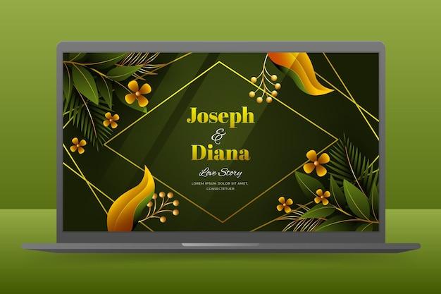 Papel de parede de convite de casamento na tela do laptop