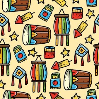Papel de parede de desenho de celebração chinesa doodle padrão sem emenda