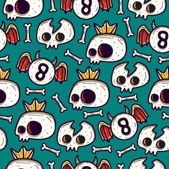 Papel de parede de desenho de padrão sem emenda de doodle de crânio